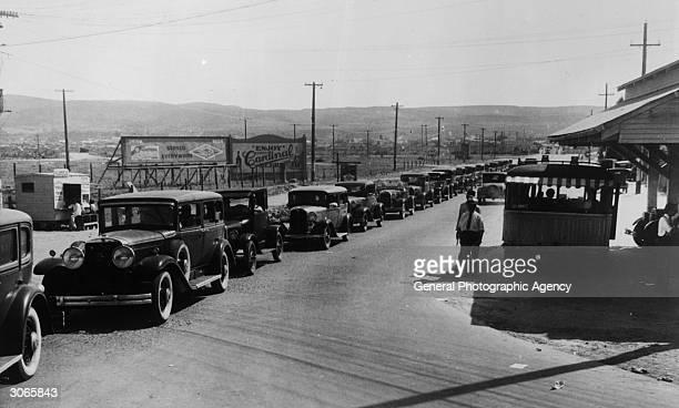 Cars queuing to cross the border into Mexico at Tiajuana