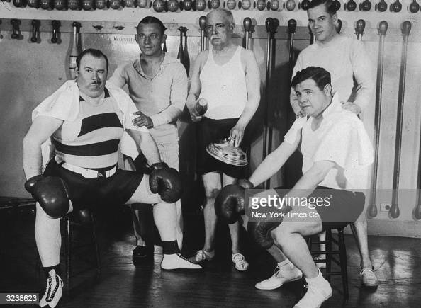 Left to right American jazz bandleader Paul Whiteman gym owner Artie McGovern American popular composer John Philip Sousa Christy Walsh and American...