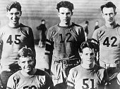 Members of the Whittier College football team with Richard Nixon wearing the number 12 shirt