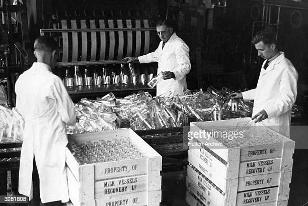 Milk bottles are cleaned by machine and then collected and packed into crates by workers