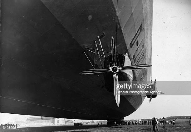 Propellers on the Graf Zeppelin airship as she is about to take off for a polar flight