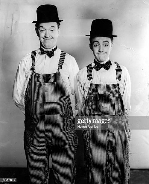 Stan Laurel originally Arthur Stanley Jefferson of the comedy duo Laurel and Hardy with Harold Cordes a 14 year old winner of a 'doubles' contest...