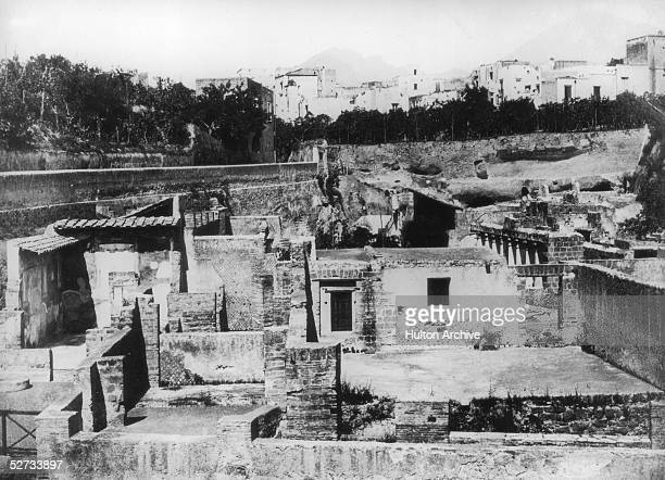 The ancient Roman city of Herculaneum which was destroyed along with Pompeii by the eruption of Mount Vesuvius in AD 79