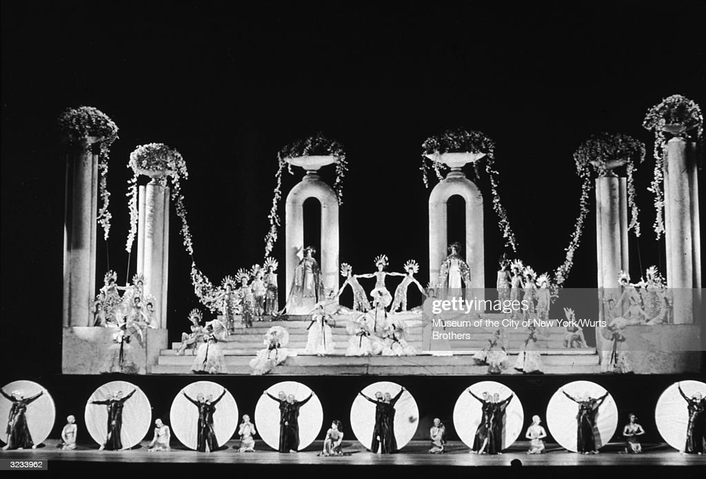 The Rockettes perform in an elaborate show on stage at Radio City Music Hall in New York City.