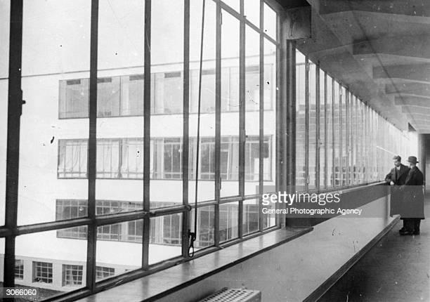 Windows at the Bauhaus School at Dessau designed by architect Walter Gropius in 1926