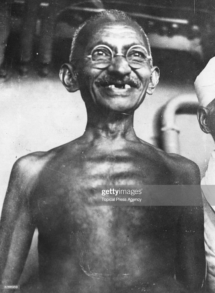 Indian leader and human rights activist <a gi-track='captionPersonalityLinkClicked' href=/galleries/search?phrase=Mahatma+Gandhi&family=editorial&specificpeople=93728 ng-click='$event.stopPropagation()'>Mahatma Gandhi</a> (Mohandas Karamchand Gandhi, 1869 - 1948).