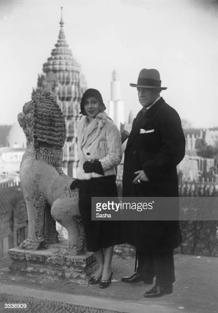 Russian born French actor and film director Sacha Guitry with his wife Yvonne Printemps at the Colonial Exhibition in Paris