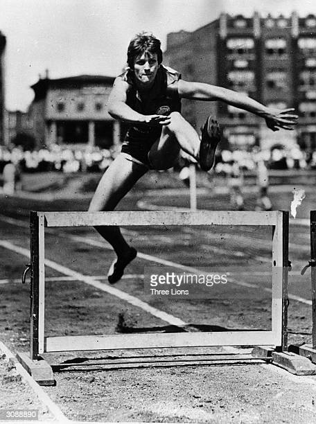 Babe Zaharias born Mildred Ella Didriksen demonstrates her hurdling technique She was gold medallist in the 80 metre hurdles at the Los Angeles...