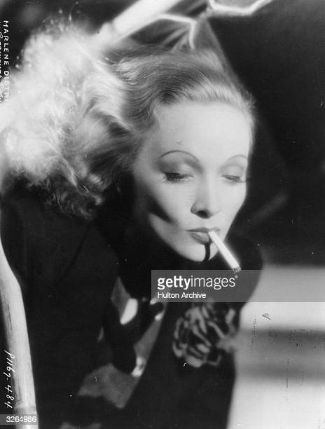 Legendary glamorous German singer and actress Marlene Dietrich in a promotional portrait