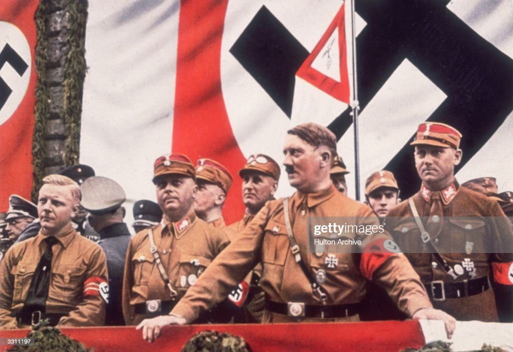German Dictator Adolf Hitler addressing a rally in Germany