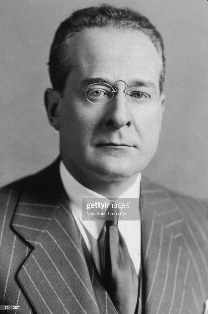 Portrait of American journalist and editor Herbert Bayard Swope Pulitzer Prize winner for his World War I coverage