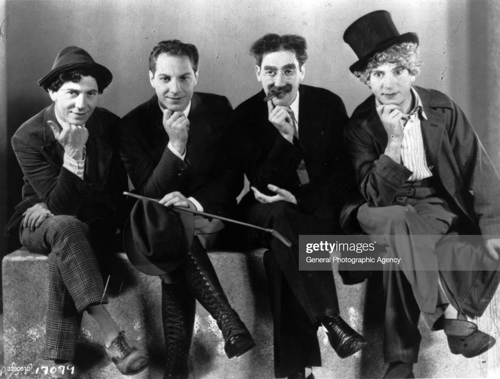 The Marx Brothers, sons of German immigrants to New York. From left, Leonard or Chico ( 1891 - 1961), Herbert or Zeppo (1901 - 1979), Julius Henry or Groucho (1895 - 1977) and Adolf or Harpo (1893 - 1961).