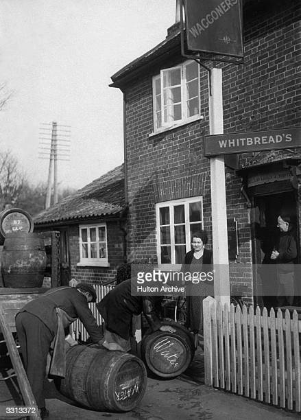 Barrels of water being delivered along with the beer to the Waggoners' Arms pub in Hertfordshire during a water shortage