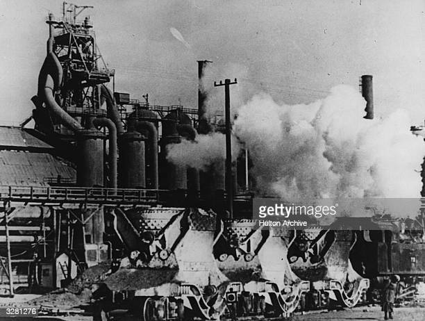 A blast furnace at Magnitogorsk in the Urals Russia Part of Stalin's first 'Five Year Plan' it was built by a combination of volunteer 'shock...