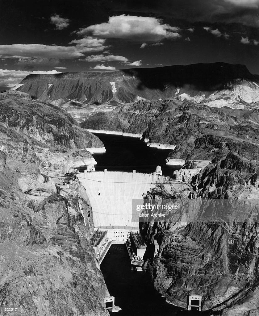 Aerial view of the Hoover Dam, which was completed in 1935, and Lake Mead on the Colorado River, Nevada.