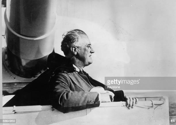 American president Franklin Delano Roosevelt on board an American warship