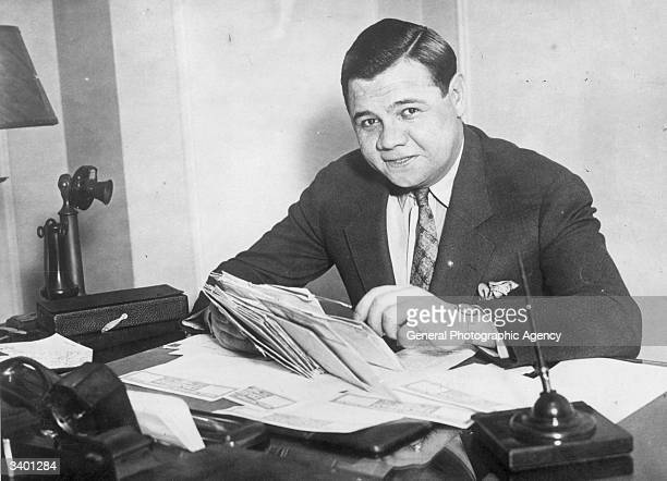 Babe Ruth American professional baseball player signs a new two year contract with the 'New York Yankees'