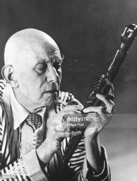English writer and magician Aleister Crowley Original Publication Picture Post 8183 New Light On Crowley Part The Man Who Chose Evil pub 1955