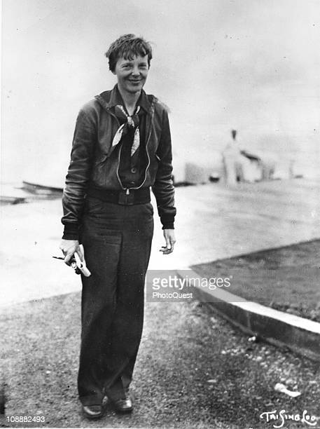 Full length portrait of American aviator Amelia Earhart the first woman to fly solo across the Atlantic during her visit to Honolulu Hawaii