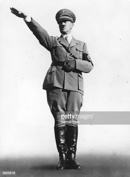 German dictator Adolf Hitler giving the Nazi salute