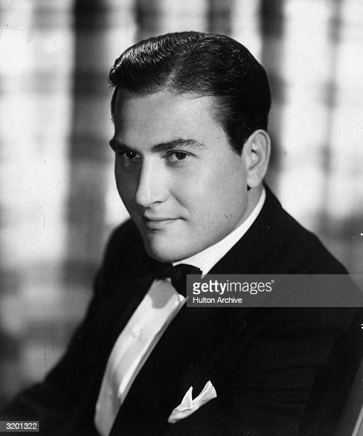 Headshot portrait of American jazz clarinettist and bandleader Artie Shaw wearing a tuxedo