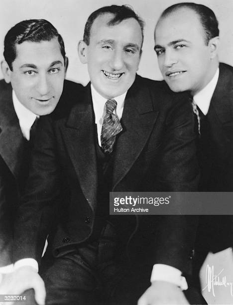 Portrait of the American comedy trio Clayton Jackson and Durante smiling Palace Theater New York City LR Lou Clayton Jimmy Durante and Eddie Jackson