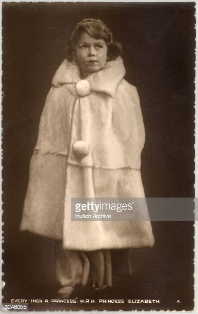 Princess Elizabeth later Queen Elizabeth II in an elegant winter coat