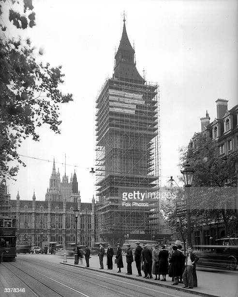 St Stephens' Clock Tower commonly known as Big Ben central London shrouded in scaffolding during restoration work