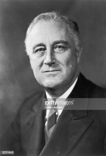 Studio headshot portrait of American president Franklin Delano Roosevelt