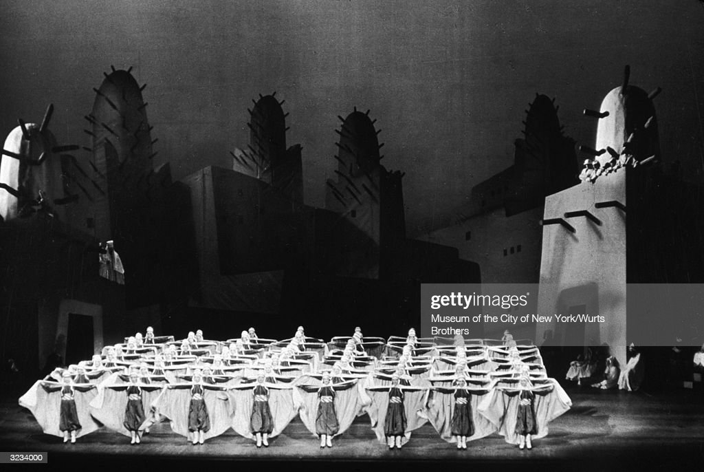 The Rockettes perform in a scene from the show, 'Winter Cruise,' at Radio City Music Hall, New York City. Set design by Albert Johnson.