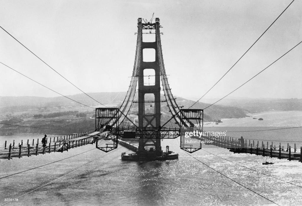 View of the Golden Gate Bridge under construction, San Francisco, California.