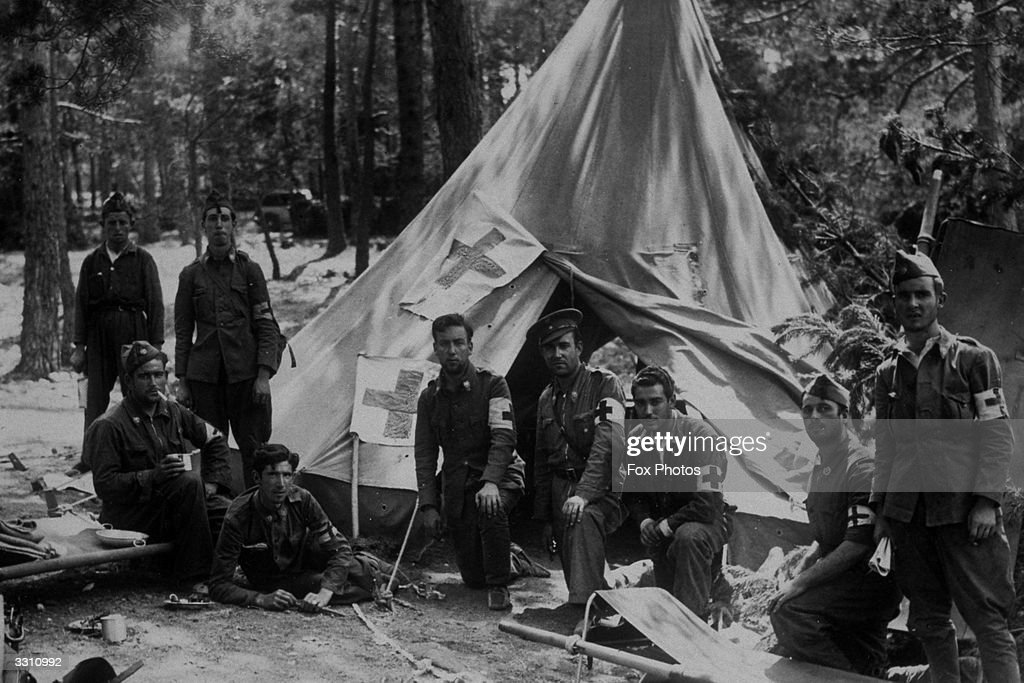 A Red Cross team outside their hospital tent in Spain.