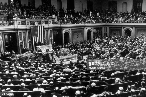 American President Franklin Delano Roosevelt addressing a joint session of Congress on his veto of the Patman Bonus Bill