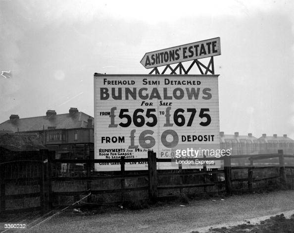A sign advertising freehold semidetached bungalows for sale in Chadwell Heath Essex