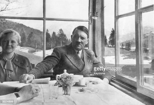 German political leader Adolf Hitler with Eva Braun