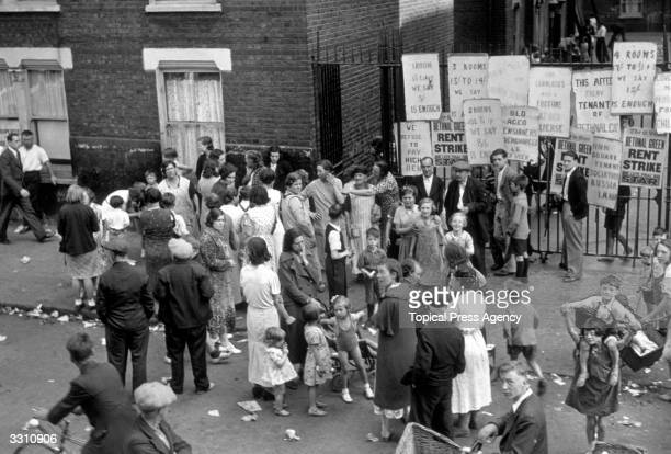 Some of the 240 families who declared a rent strike at Quinn Square buildings Bethnal Green seen here protesting at overcharging
