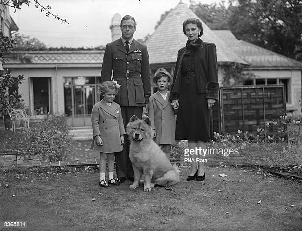 The Duke and Duchess of Kent pose in the garden of the Buckinghamshire home with Prince Edward Princess Alexandra and their dog Muff