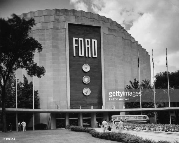 The ultramodern gear shaped Ford Rotunda in Dearborn America
