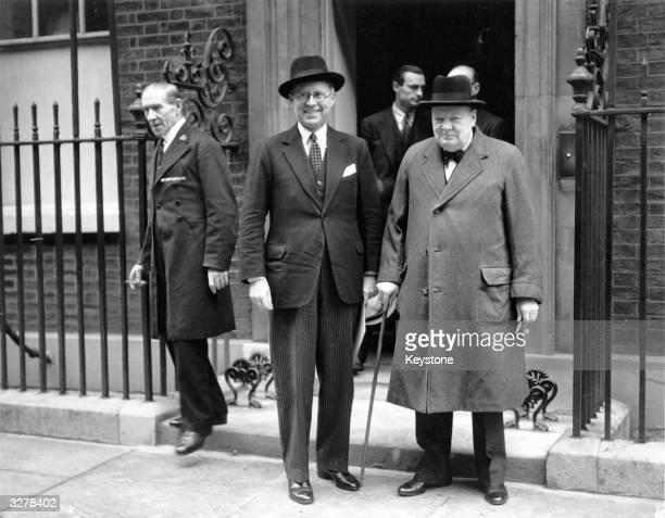 American Ambassador to Britain Joseph Kennedy with the English statesman Winston Churchill outside Downing Street London