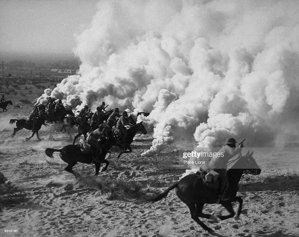 A British cavalry charge in North Africa.