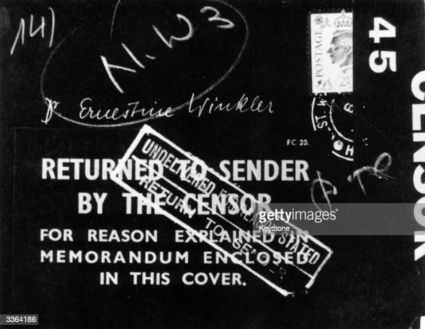 A document which has been marked returned to sender by the official censor in the interests of national security during World War II