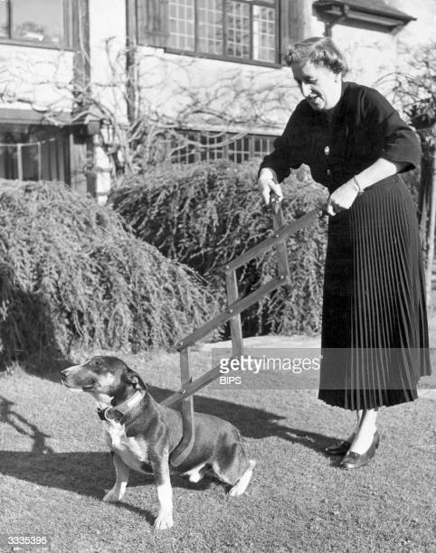 A woman demonstrates a new dog restraining invention