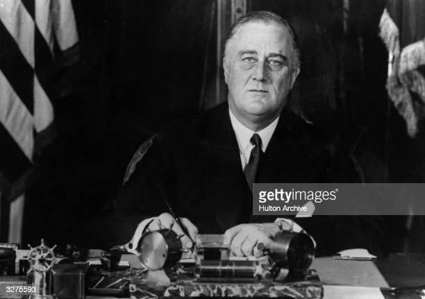 American President Franklin Delano Roosevelt at his desk