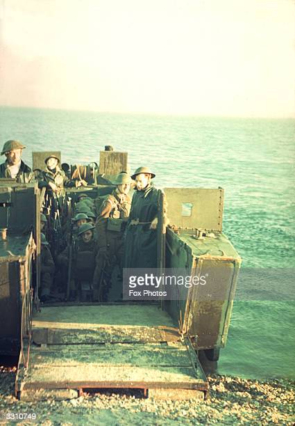 British troops prepare to disembark from their landing craft