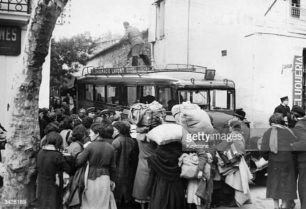 French refugees fleeing from the invading Nazis near the border with Spain