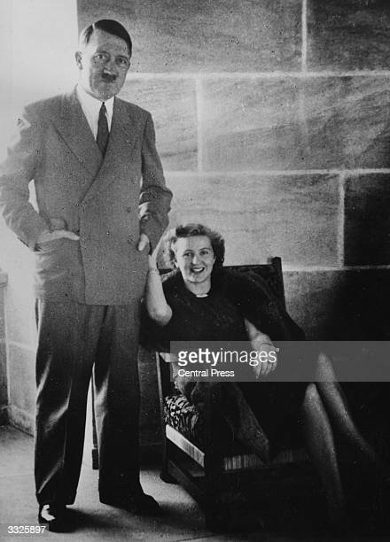 German Nazi dictator Adolf Hitler with his mistress Eva Braun at Hitler's Berchtesgaden retreat The photograph was found among Braun's personal...