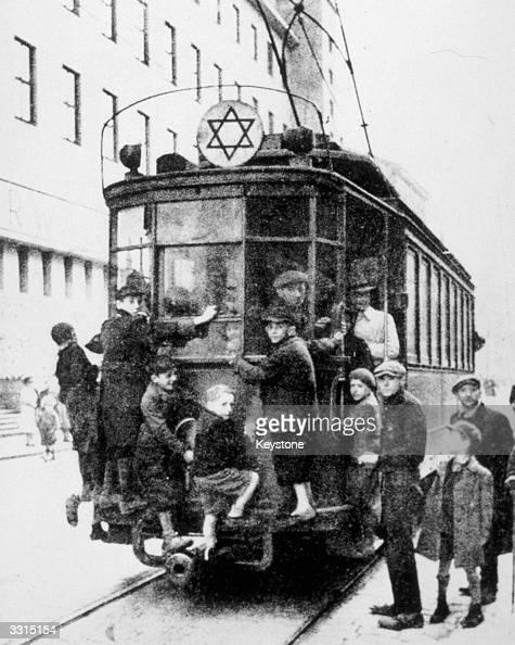 Jewish children on a tram in Warsaw's ghetto