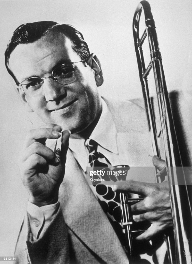 The American trombonist and band-leader, <a gi-track='captionPersonalityLinkClicked' href=/galleries/search?phrase=Glenn+Miller+-+Musician&family=editorial&specificpeople=12733485 ng-click='$event.stopPropagation()'>Glenn Miller</a> (1904 - 1944), who disappeared when a small aircraft he was a passenger in went missing over the English Channel.