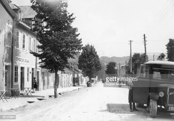 The main street in the Yugoslavian town of Cetinje in Montenegro