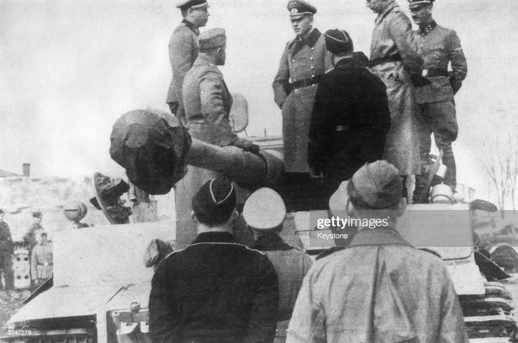 Heinz Guderian Inspector General of the Panzer Troops during World War II stands on top of a Tiger tank to address his men He was dismissed by Hitler...